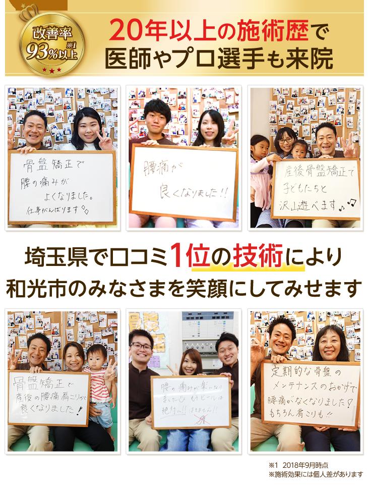 和光市の皆様を埼玉県クチコミ数No.1の整体技術で笑顔にします